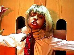 Bound Schoolgirl Choked In Dungeon
